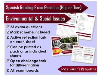 GCSE Spanish - Reading Exam Question Pack - Environmental & Social Issues - All Exam Boards