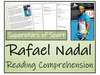 UKS2 Literacy - Rafael Nadal Reading Comprehension Activity