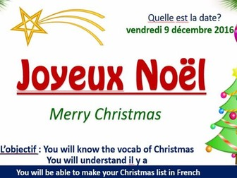 Joyeux Noel - French Christmas lesson Powerpoint and worksheet