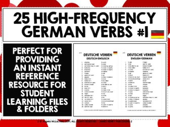 GERMAN VERBS REFERENCE LIST 25 VERBS #1