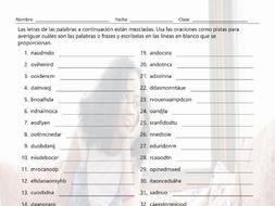 Present Continuous Tense Jumbled Words Spanish Worksheet