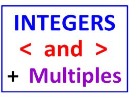 Integers Greater Than Less Than PLUS Integers and Multiples (6 Worksheets in all)