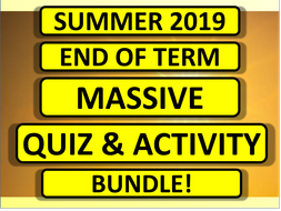 2019 End of Summer Term Fun Activity Pack Bundle for Form Time Registration Cover Lesson