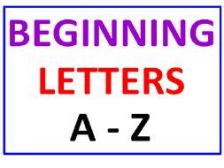 Beginning Letters A - Z (Seven worksheets)