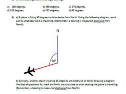 Bearings - introduction and scenario worksheet, diagram drawing,