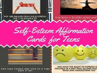 Self-Esteem Affirmation Cards For Teens
