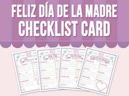 Feliz Día de la Madre - Checklist Card