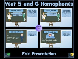 Homophones: Year 5 and 6 Homophones / Near Homophones PowerPoint Lesson