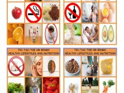 Healthy Lifestyle and Nutrition Tic-Tac-Toe or Bingo