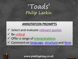 Philip Larkin – 'Toads' – Annotation / Planning Table / Questions / Booklet