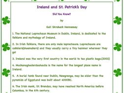 Ireland and St. Patrick's Day: Free Factoids(Possible Interactive Notebook Activity