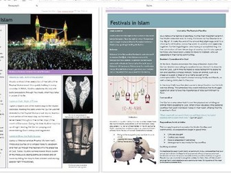 Islam: Practices: Festivals in Islam Information Pages Revision Sheets