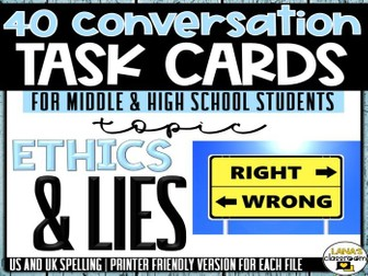 Conversation Starter Cards | Ethics and lies | Social Skills for Middle&High