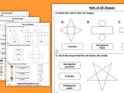 Year 6 Nets of 3D Shapes Summer Block 1 Maths Homework Extension
