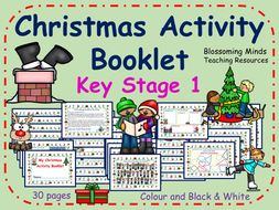 KS1 Christmas Activity Pack - 30 pages - Colour and Black & White