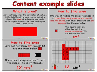 Area (Year 4) - PowerPoint and worksheets.