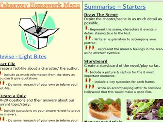 English Homework Takeaway Menu