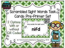 Scrambled Sight Words Task Cards: Pre-Primer Set