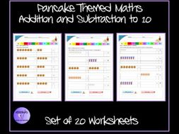 Pancake Day Themed Addition and Subtraction to 10 Worksheets