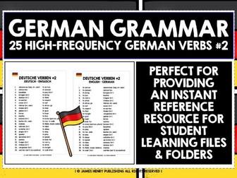 GERMAN VERBS REFERENCE LIST #2