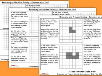 Year 4 Perimeter on a Grid WRM Measurement Reasoning and Problem Solving Pack