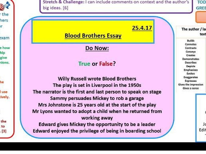 Blood Brothers exam style essay question practice by ...
