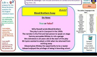 blood brothers 6 essay A full, lesson by lesson, scheme of work including powerpoints and worksheets on the modern play blood brothers also included is a smaller scheme of revision lessons.