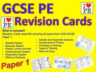 GCSE OCR PE Paper 1 Revision Cards