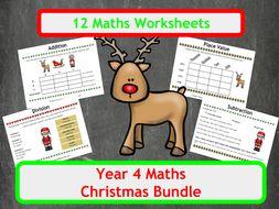 Christmas Maths Worksheets - Year 4