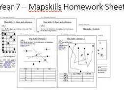 Set of homework sheets for KS3 mapskills