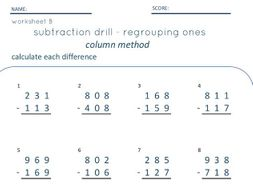 Three Digit Subtraction with and without regrouping - SET of 3