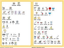 Pancake Day Recipe with Widgit Symbols