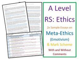 A Level Religious Studies: Model Essays for Meta-Ethics: Emotivism