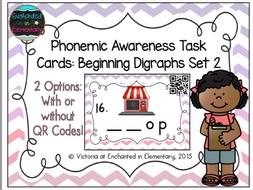 Phonemic Awareness Task Cards: Beginning Digraphs Set 2