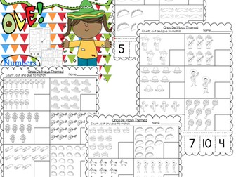 Cinco De Mayo Themed Numbers Cut and Paste Worksheets (1-20)