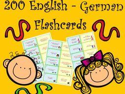 200 Bilingual English - German Basic Sentences and Vocabulary Flashcards