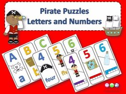 Number and ABC Puzzle - Pirate Theme