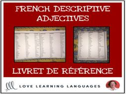 French Descriptive Adjectives Booklet - Livret de Référence
