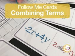 Combining Like Terms Follow-Me Cards - A game for simplifying expressions.
