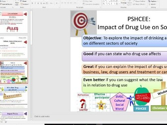 PSHE Drugs Education for KS4: Impact of Drug Use on User and Society - Whole Lesson