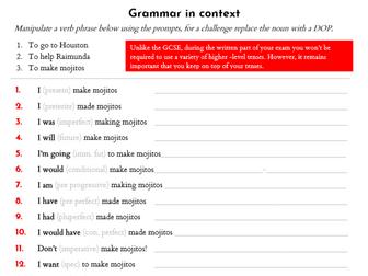 Volver grammar starters x8