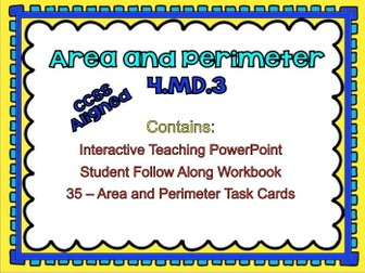 Fourth Grade Math Area and Perimeter 4.MD.3 Teaching PowerPoint and Student Pages