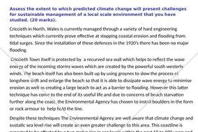 AQA Geography 20 mark essay model answer - Coasts