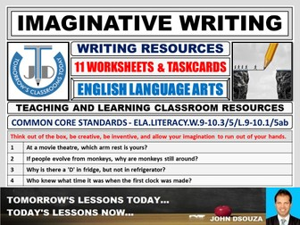IMAGINATIVE WRITING - 11 WORKSHEETS AND TASK-CARDS