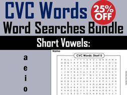 Short A, E, I, O, U CVC Words: Word Search Bundle