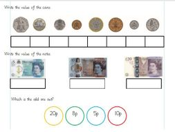 Recognising coins and notes. Differentiated Worksheets Year 1 (white rose)