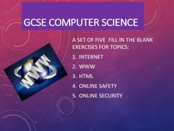Internet, WWW, HTML, Online Safety and Security - Fill in the blanks