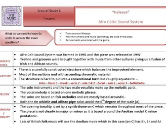"GCSE Music Edexcel 9-1- ""Release "" Afro Celt Sound System Key Terms Sheet"