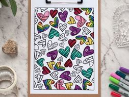 "Hearts Coloring Page | Printable 8.5x11"" PDF adult coloring page 