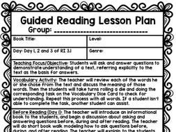 Guided Reading Lesson Plans (Year Long 3rd Grade)